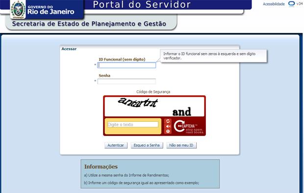 Site do Proderj Contracheque (Foto: Reprodução)