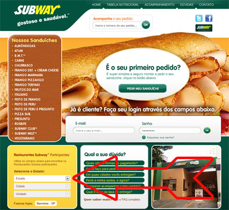 Subway Delivery Telefones - Site Subdelivery