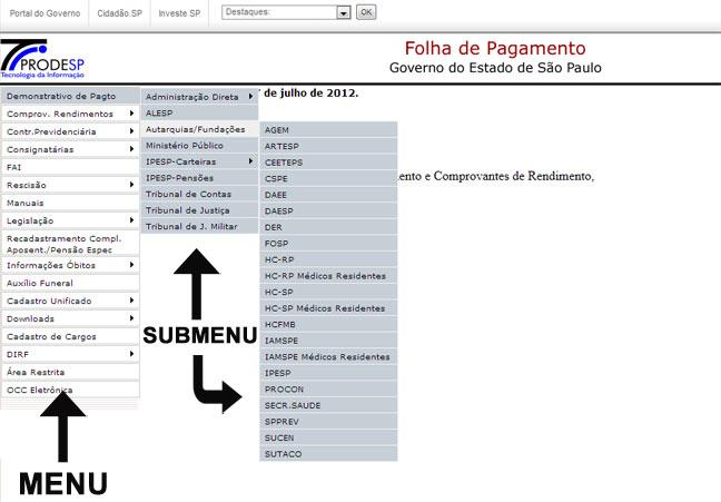 Folha de Pagamento SP - Site do PRODESP