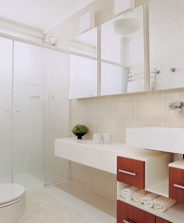 Banheiros Pequenos Decorados – Fotos -> Banheiros Claros Decorados
