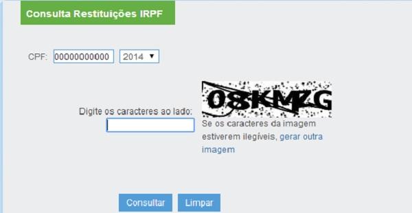 Consulta no site da Receita. (Imagem: Reprodução)
