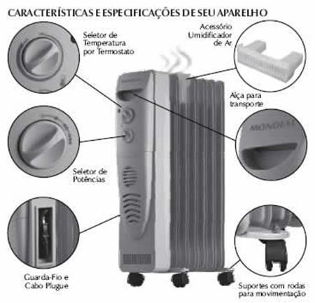 Características de um aquecedor de ambiente a oleo. (Foto: Divulgação)