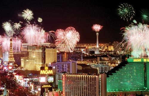 Queima de fogos de artifício no Réveillon de Las Vegas. (Foto: Reprodução)