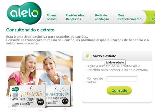 Consulte seu saldo online, no site da Alelo (Imagem: Reprodução)