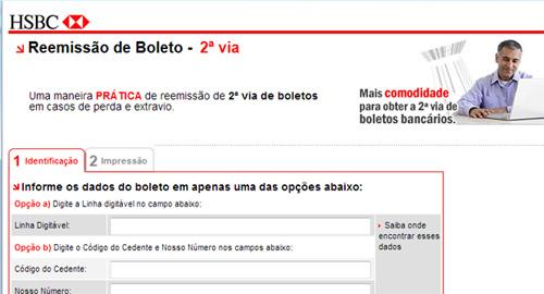 Reemissão de Boleto do HSBC Online. (Imagem: Reprodução)