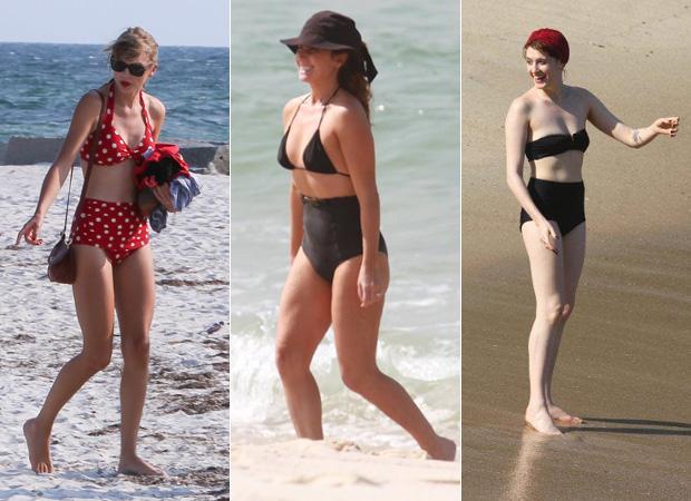 Famosas como Taylor Swift, Giovanna Antonelli e Florence Welch já aderiram ao biquíni hot pants. (Foto: Divulgação)
