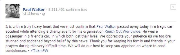 Morte do ator é confirmada em sua página oficial do Facebook. (Foto: Divulgação / Facebook)