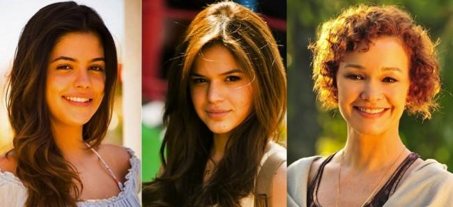As tês Helenas de 'Em Família' - Julia Dadiva, Bruna Marquezine e Júlia Lemmertz. (Foto: Reprodução)